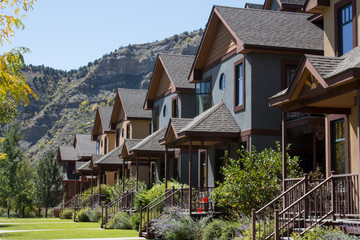 Line of condominiums in Durango, Colorado with Smelter Mountain behind