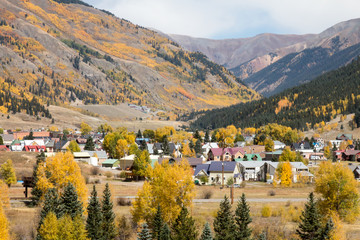 Scenic Silverton, Colorado nestled in the San Juan Mountains