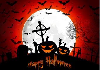 Halloween grave on full moon  background pumpkin hand and bats
