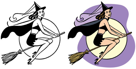 Sexy witch flying on broomstick