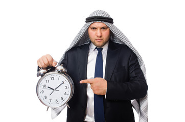 Arab man with clock isolated on white
