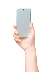 Selfie with mobile smart phone Isolated on white background