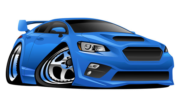 Modern Import Sports Car Cartoon Isolated Vector Illustration, cool blue paint, aggressive stance, big tires and rims