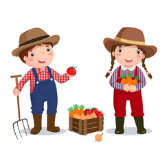 Illustration of profession's costume of farmer for kids