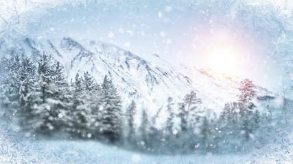 wintry scene through frozen window