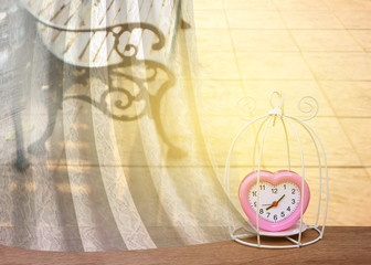 white drapery frame with bird cage and pink clock
