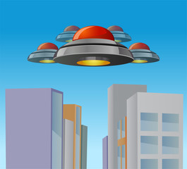 Alien flying saucers invading the city vector image