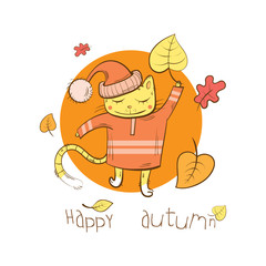 Autumn vector card with cartoon cat and leaf fall.