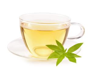 Lemon verbena tea and leaves isolated.