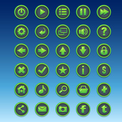 Big kit of round buttons with different images for the user inte