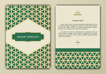 Flyer, brochure, booklet cover design templates in retro style on abstract backgrounds with arabian patterns. Can use for greeting cards, wedding invitations, retro parties and advertising.