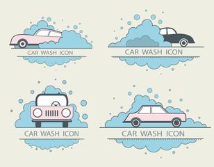 Car wash logo design layout. Corporate vector symbol concept. te