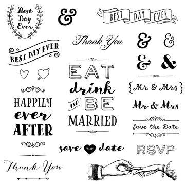 hand drawn wedding typography