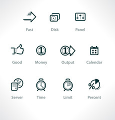 Set isolated icons for web. Business and communication.