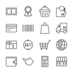 Vector shopping icons set, thin line