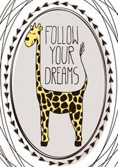 Cute postcard with cartoon giraffe
