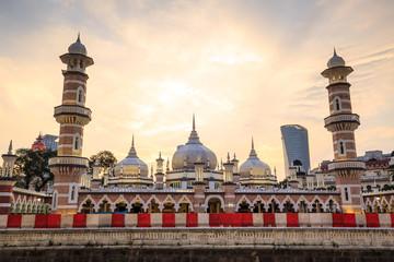 Photo Stands Kuala Lumpur Historic mosque, Masjid Jamek at Kuala Lumpur, Malaysia