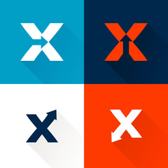 X letter with arrows set.
