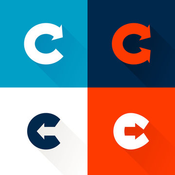 C letter with arrows set.