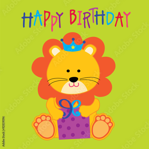 Birthday Card With A Cute Lion Design Is Hugging Gifts