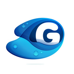 G letter with blue water drops.