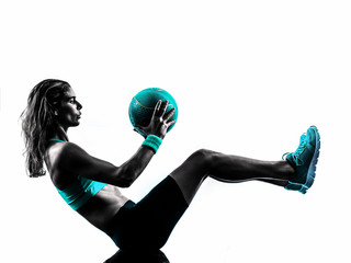 Fototapete - woman fitness Medicine Ball exercises silhouette
