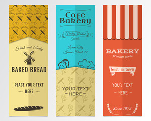 Bakery shop and cafe vertical banners collection. Banner set