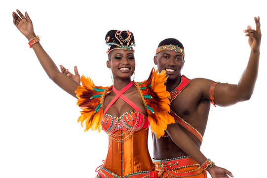 Samba dancers filled with enthusiasm
