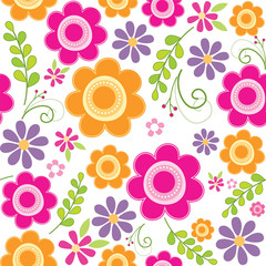 Seamless spring pattern with cute flower suitable for gift wrap or wallpaper background
