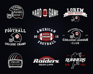 Set of American football, college league labels, logos, badges