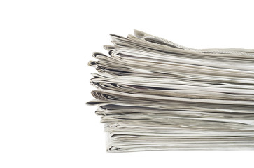 stack of newspapers, close up, isolated on white back,free copy