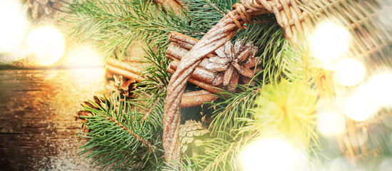 Christmas Light with Natural Gifts, Pine Cones, Fir Tree, Cinnamon. Top view