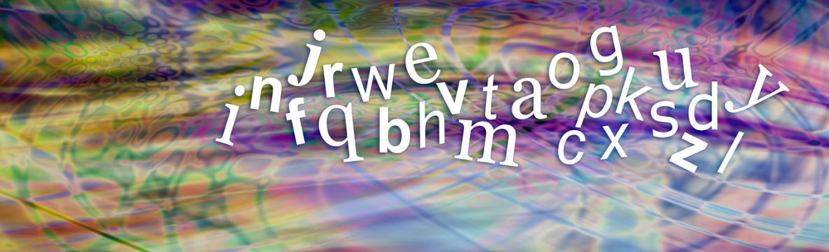 Jumbled Alphabet - A to Z jumbled and floating in a streaky multicolored random pattern background with copy space