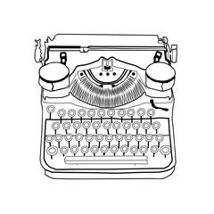 Hand drawn vector typewriter