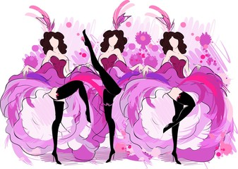 Cancan dancers sketch