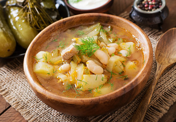 Soup with pickled cucumbers and beans in Ukrainian style