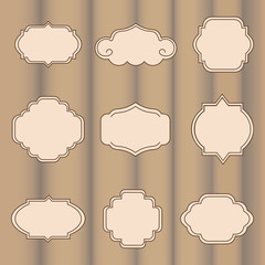 Set of vector labels on a light brown background with stripes