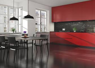 Moderne rote Küchenzeile mit Essplatz