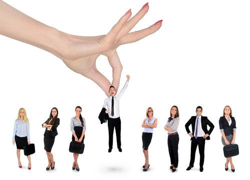 Hand choosing business man