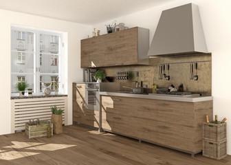 Nostalgische Holzküche im Landhausstil