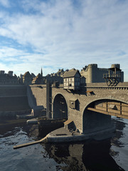Fototapete - Illustration of an old European Medieval bridge with gatehouse and half-timbered buildings, leading across a quiet river to the old town and castle, 3d digitally rendered illustration