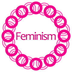 Feminism Pink Circular Rings Background