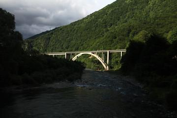 European mountain landscape bridge the gap