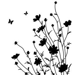 Summer garden. Flowers silhouette