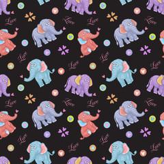 Seamless elephant kids pattern