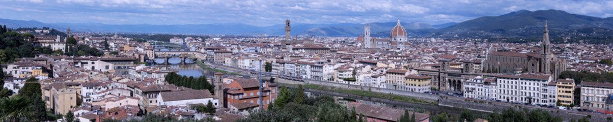 A panoramic photo of Florence with the Duomo and the most representative buildings of the city