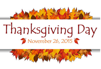 Thanksgiving day banner with date and autumn leaves vector