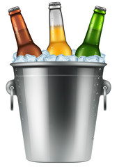 Beer bottles in an ice bucket, realistic vector illustration.