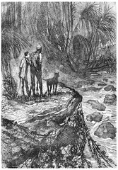 Bushman and his companion watched, vintage engraving.