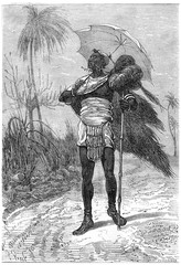 Moulibahan, the chief of the tribe, vintage engraving.